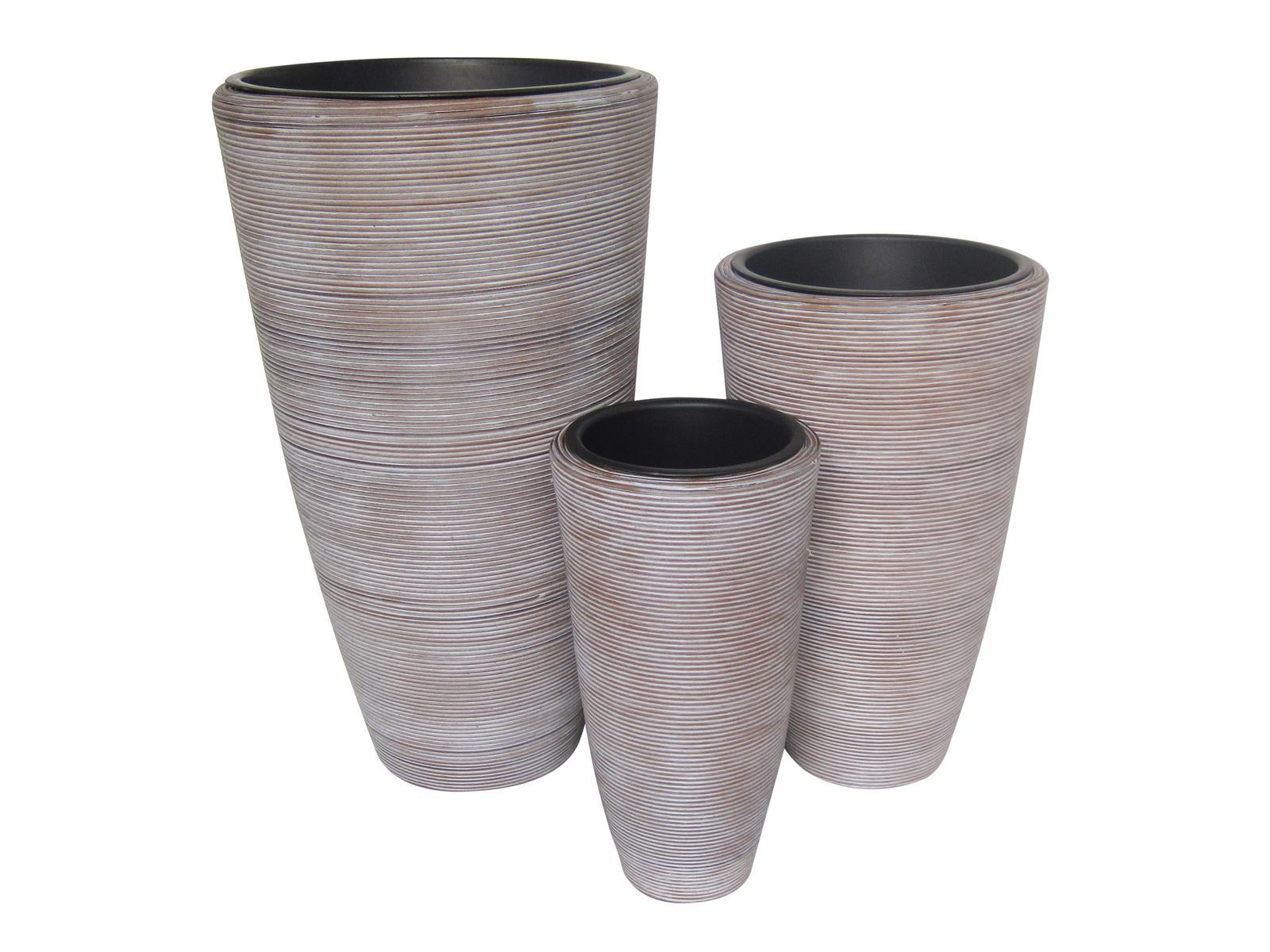 EUROPALMS Deco Fioriera Vaso decorativo 3 pezzi modello ITALIA 74 x 54 x 44 cm