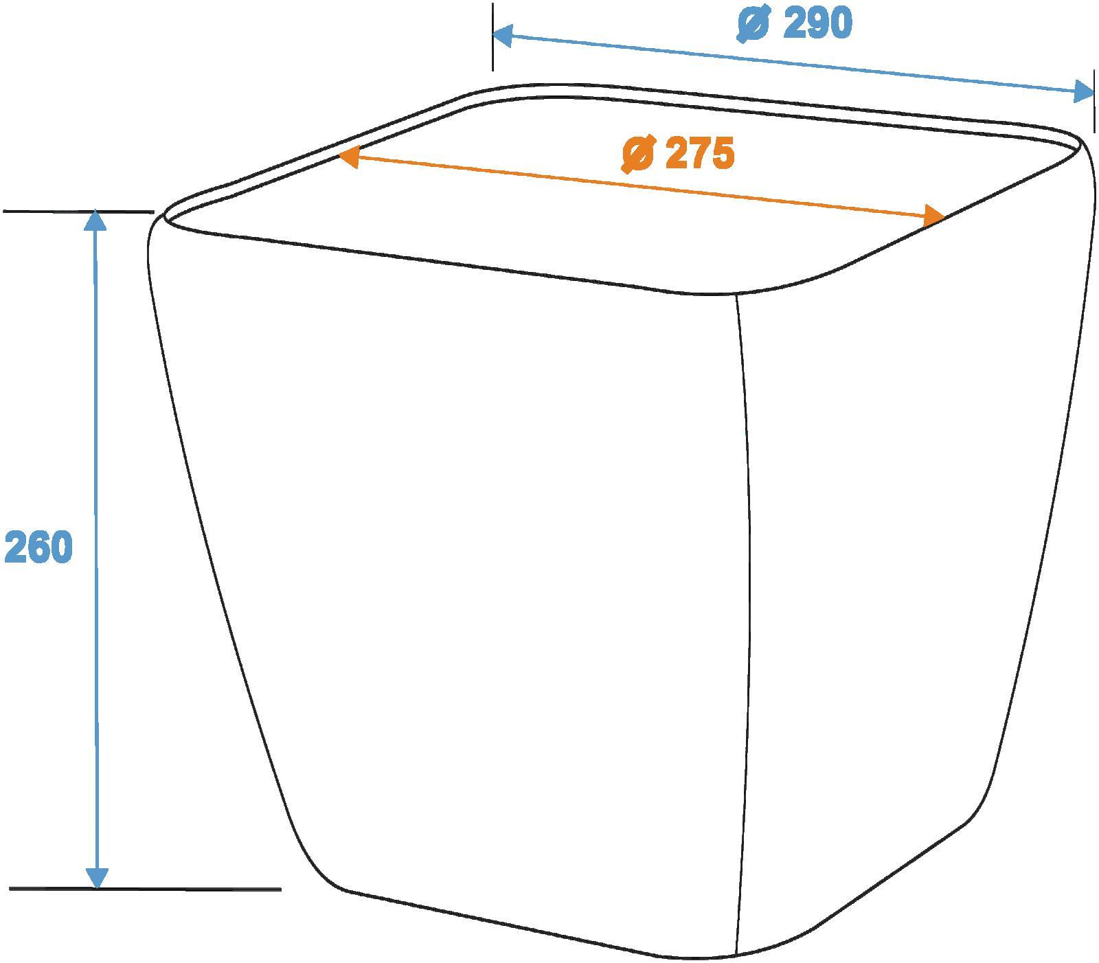 EUROPALMS Deco vaso LUNA-26, rettangolare, argento