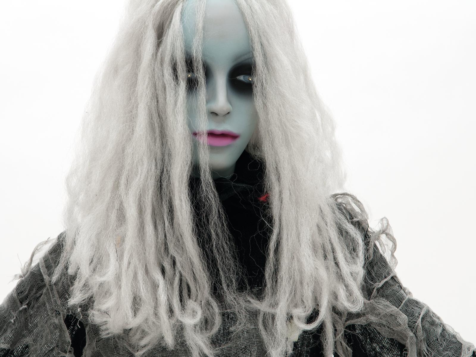 EUROPALMS Busto di zombie in movimento con i capelli bianchi per halloween