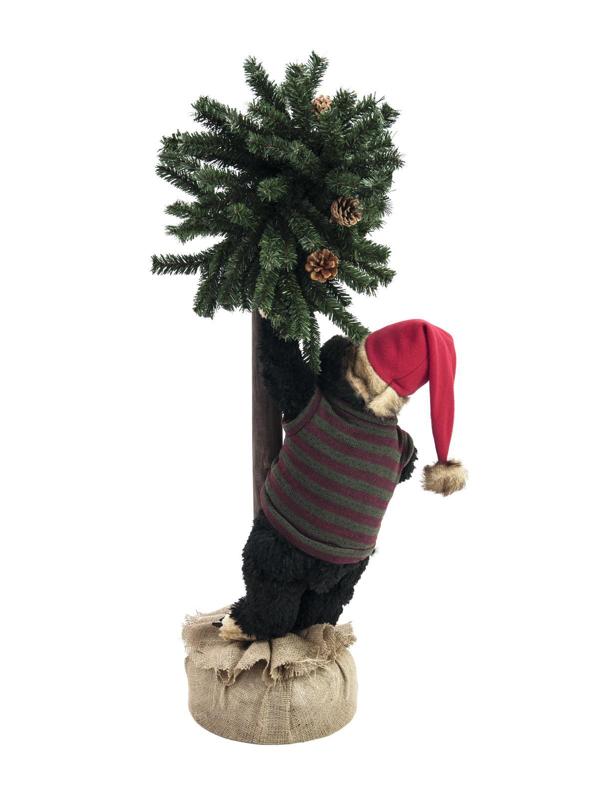Orso orsetto Natalizio christmas con albero di abete 105 cm europalms