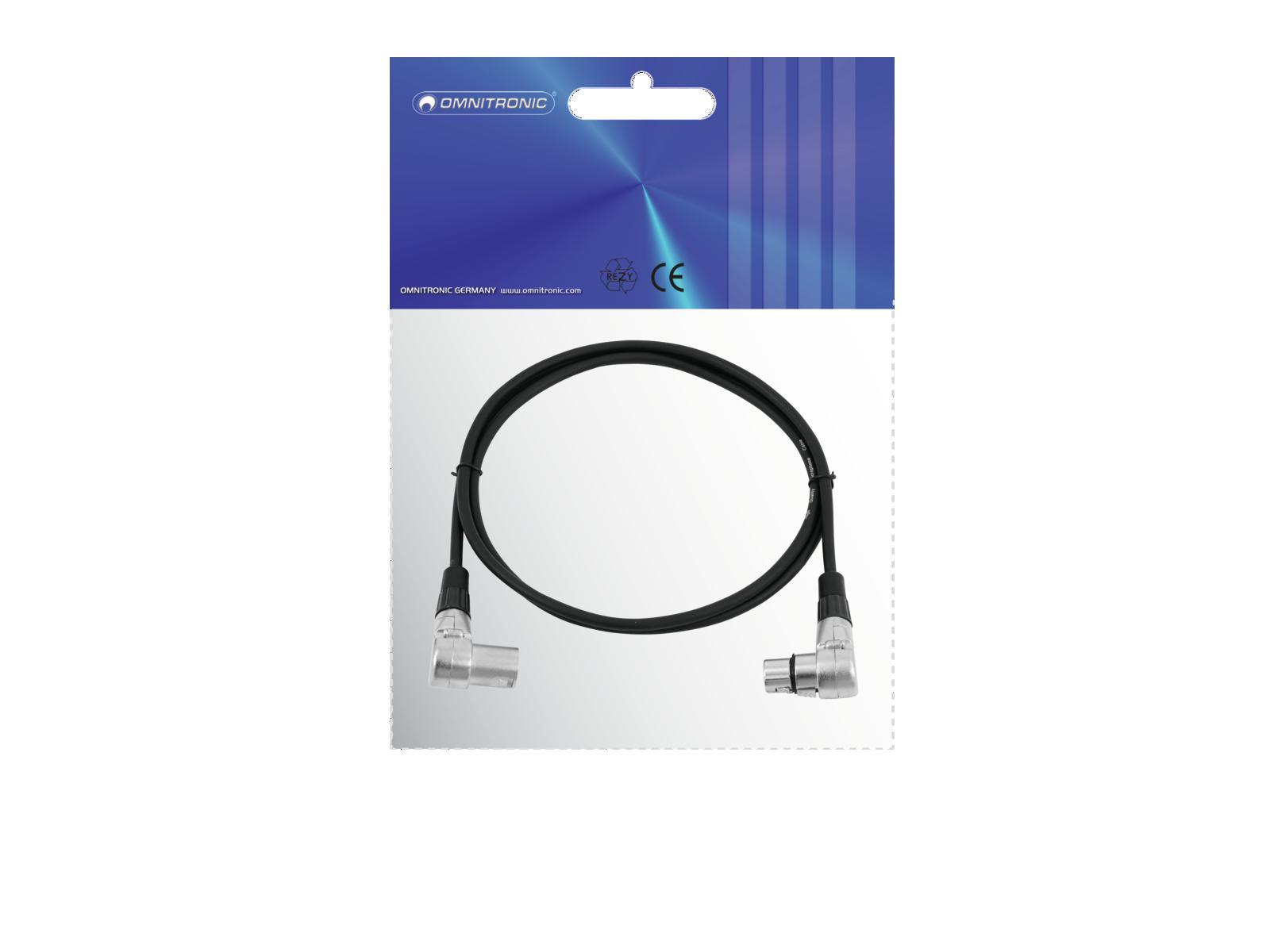 OMNITRONIC cavo XLR 3pin 1,5 m 90° bk