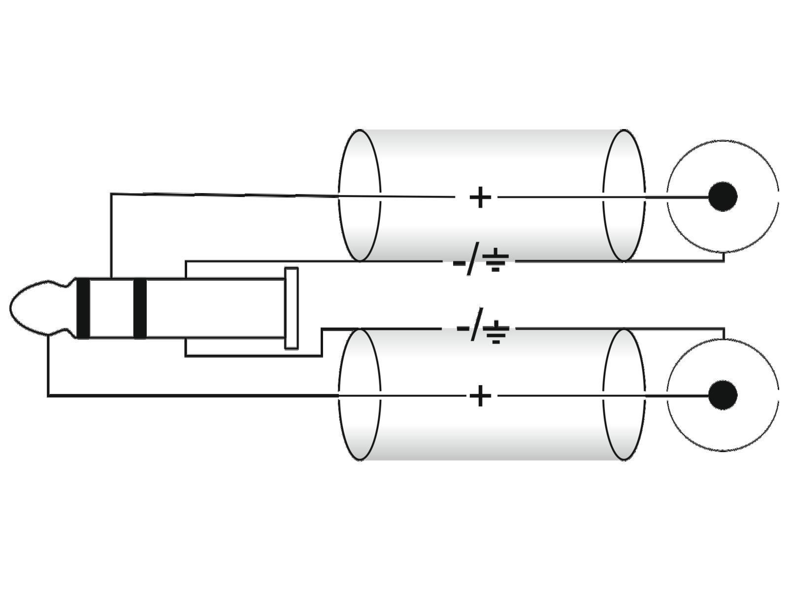 OMNITRONIC Adaptercable 3,5 T-Jack/2xRCA 1m bk