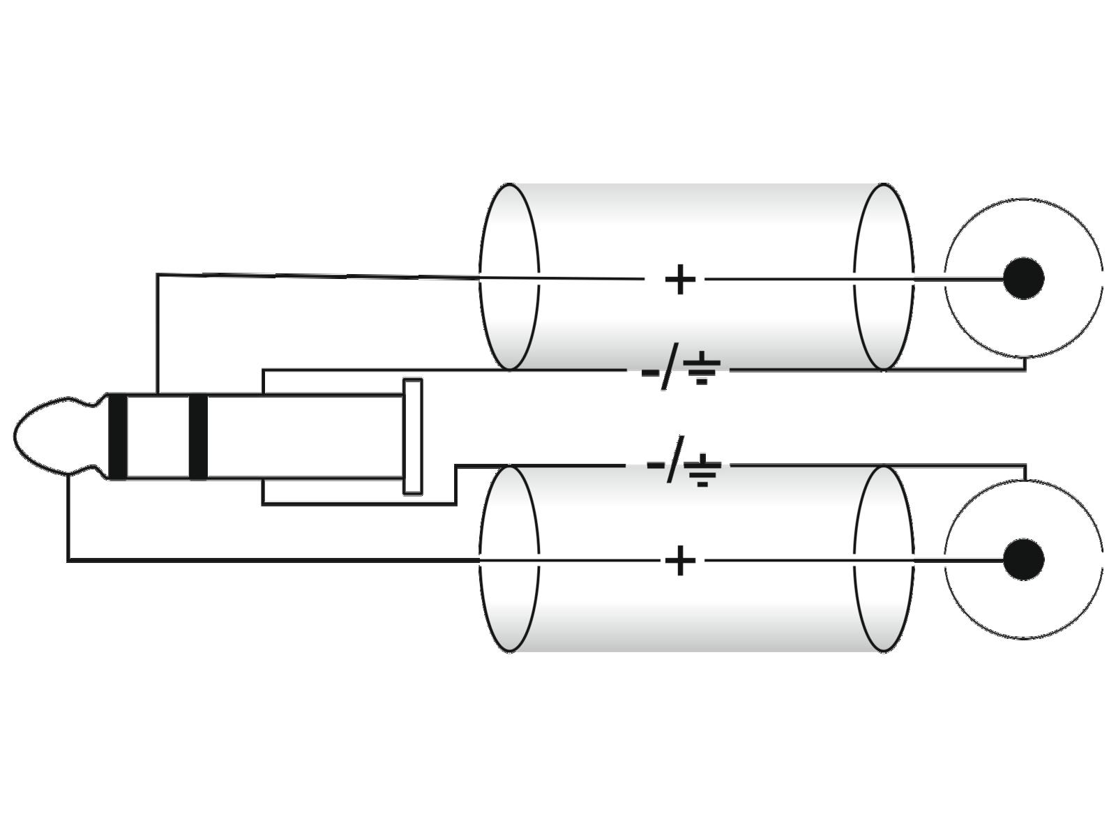 OMNITRONIC Adaptercable 3.5 Jack 90°/2xRCA 1m bk
