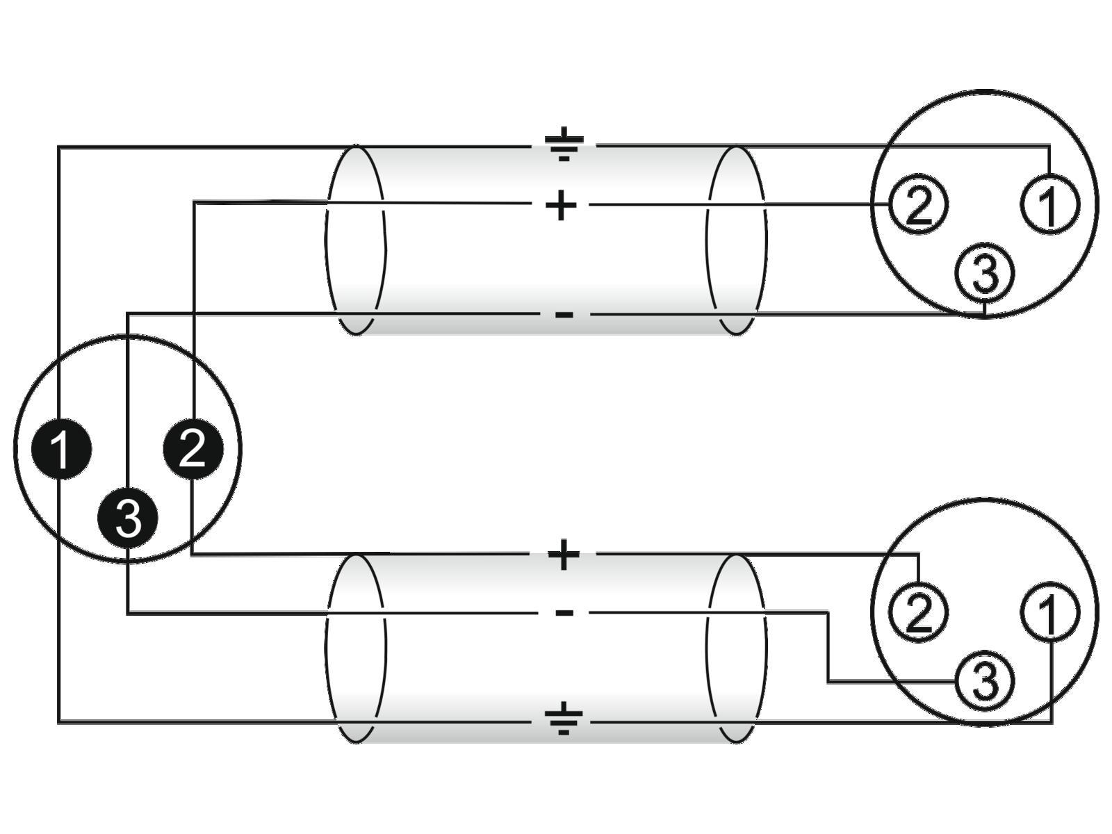 OMNITRONIC Adaptercable XLR(M)/2xXLR(F) 0,5 m bk