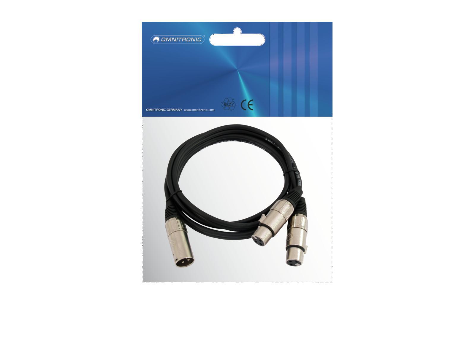 OMNITRONIC Adaptercable XLR(M)/2xXLR(F) 1m bk