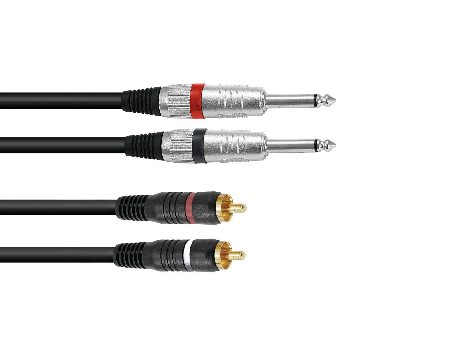 OMNITRONIC Adapterkabel 2xKlinke/2xCinch 3m sw