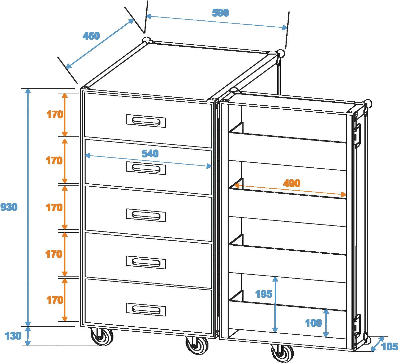 ROADINGER cassetto Universale caso TSF-1 ruote