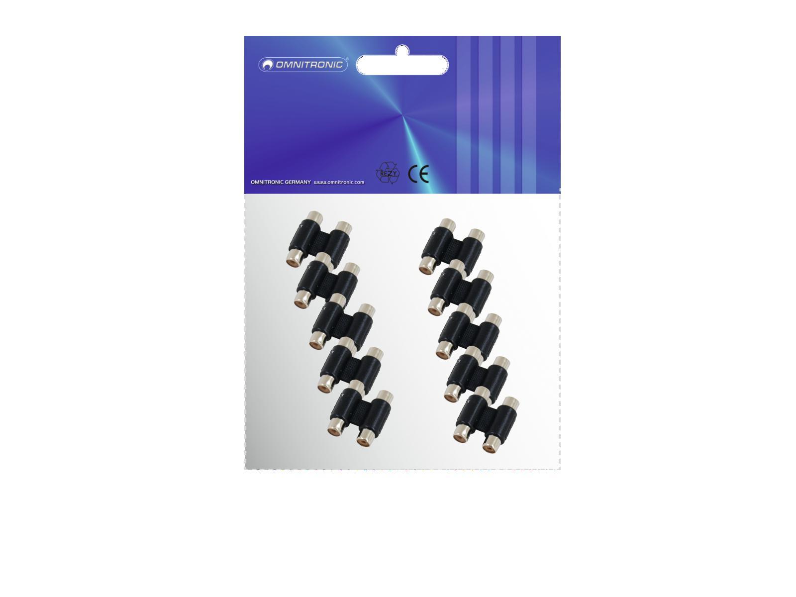 OMNITRONIC Adattatore 2xRCA(F)/2xRCA(F) 10x