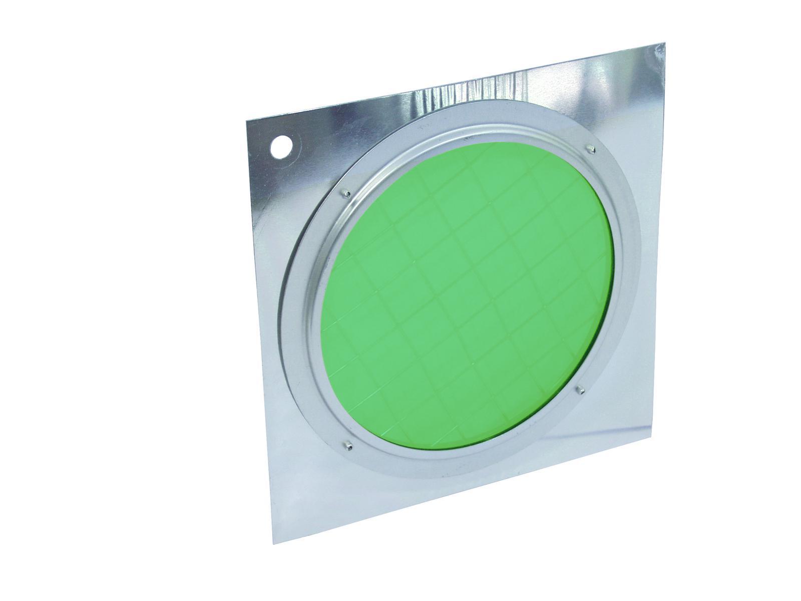 Filtro Frontale dicroico Per Faro Luce Par-56 verde con cornice argento Eurolite