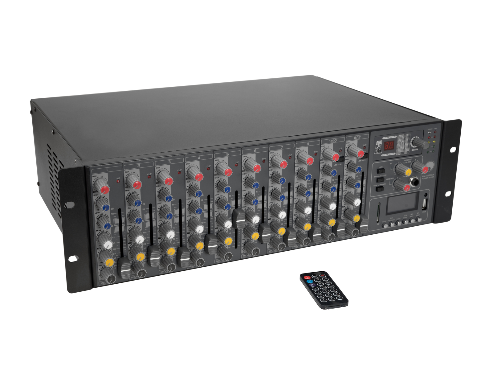 OMNITRONIC RM-1422FXA USB Rack-Power-Mixer