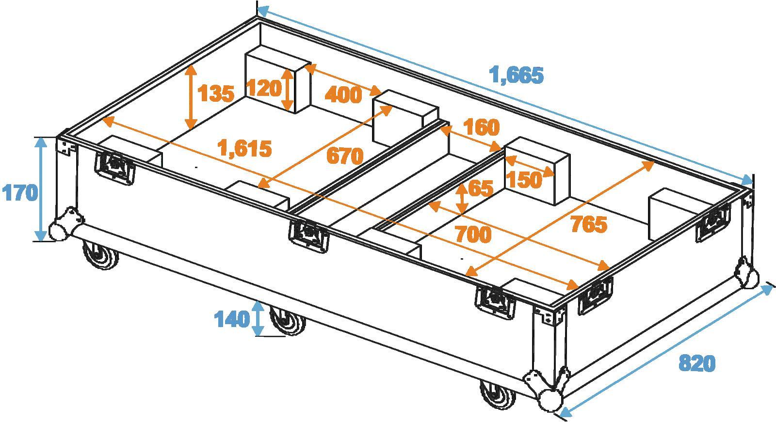 ROADINGER Flightcase 2x CLA-115