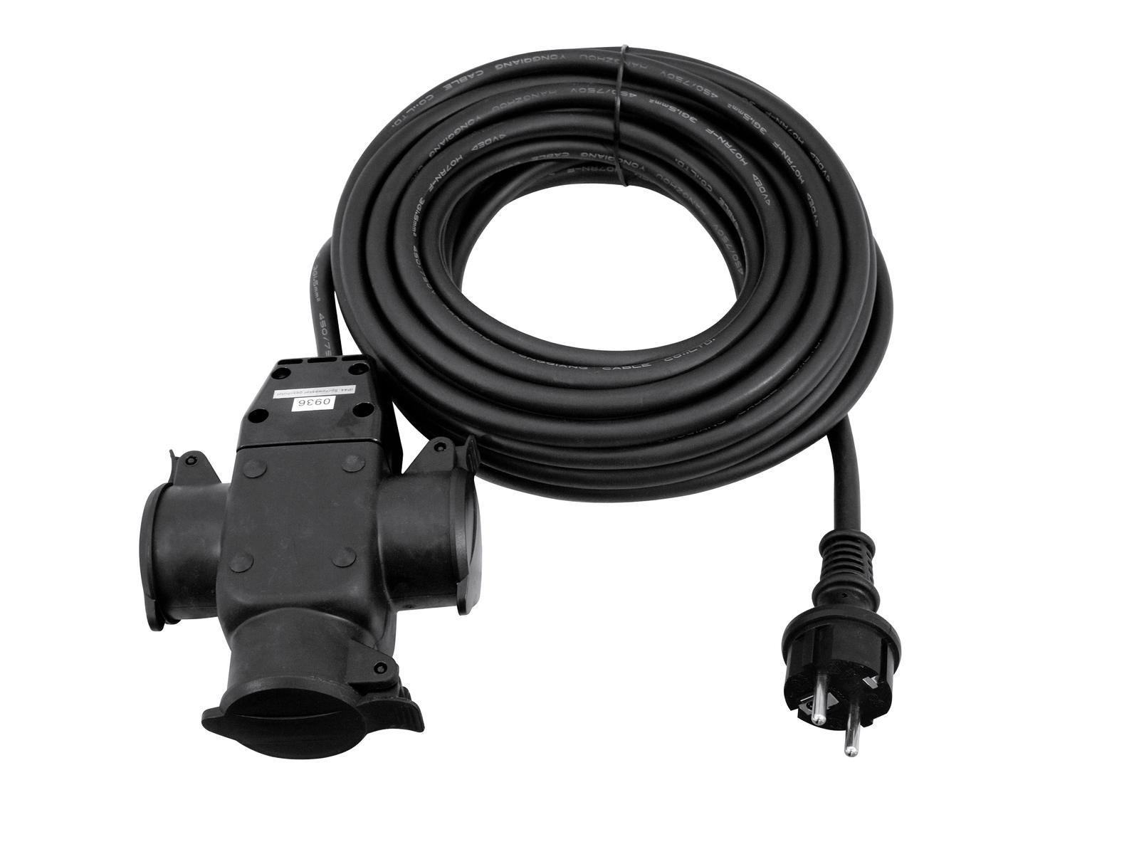 Extension cable Industrial 250 V/16 3x1.5 1x Plug 3x Plug B 10 MT Eurolite