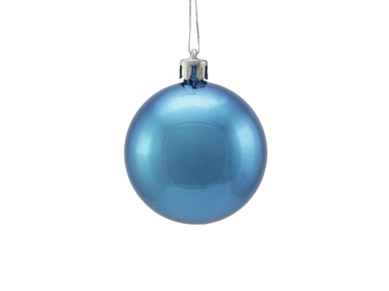 Balls Balls christmas plastic 6Cm for Tree decoration 6 pcs metallic Blue