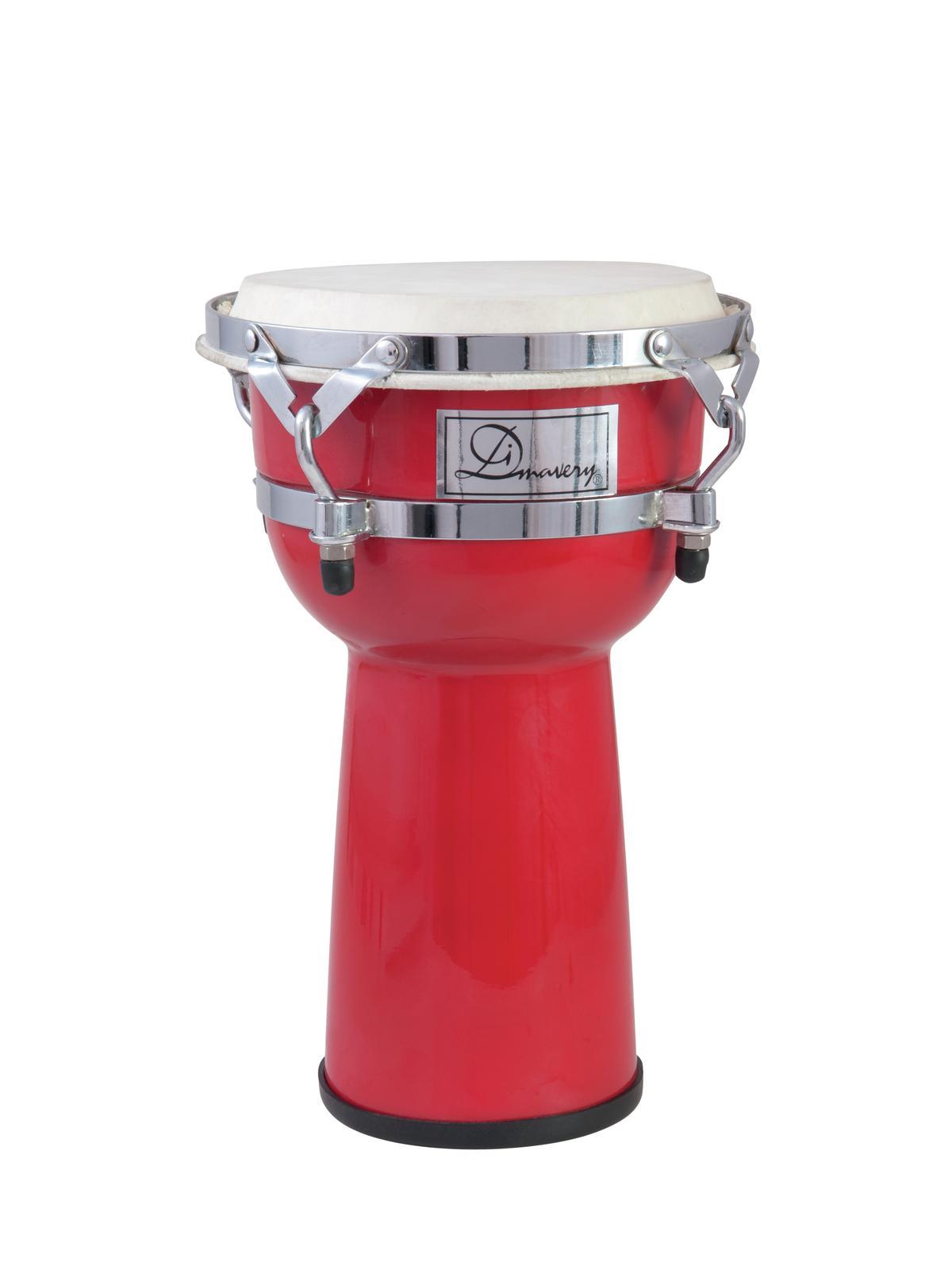 Djembe, tamburo, bongo, in plastica, rosso, DIMAVERY DJC-108