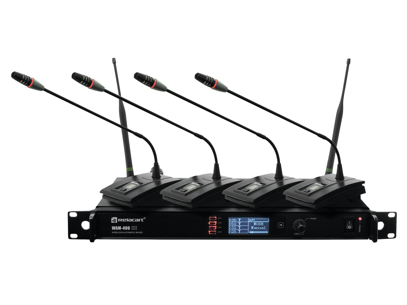 Set Microfoni digitali con mixer a 4 canali per conferenze gooseneck UHF