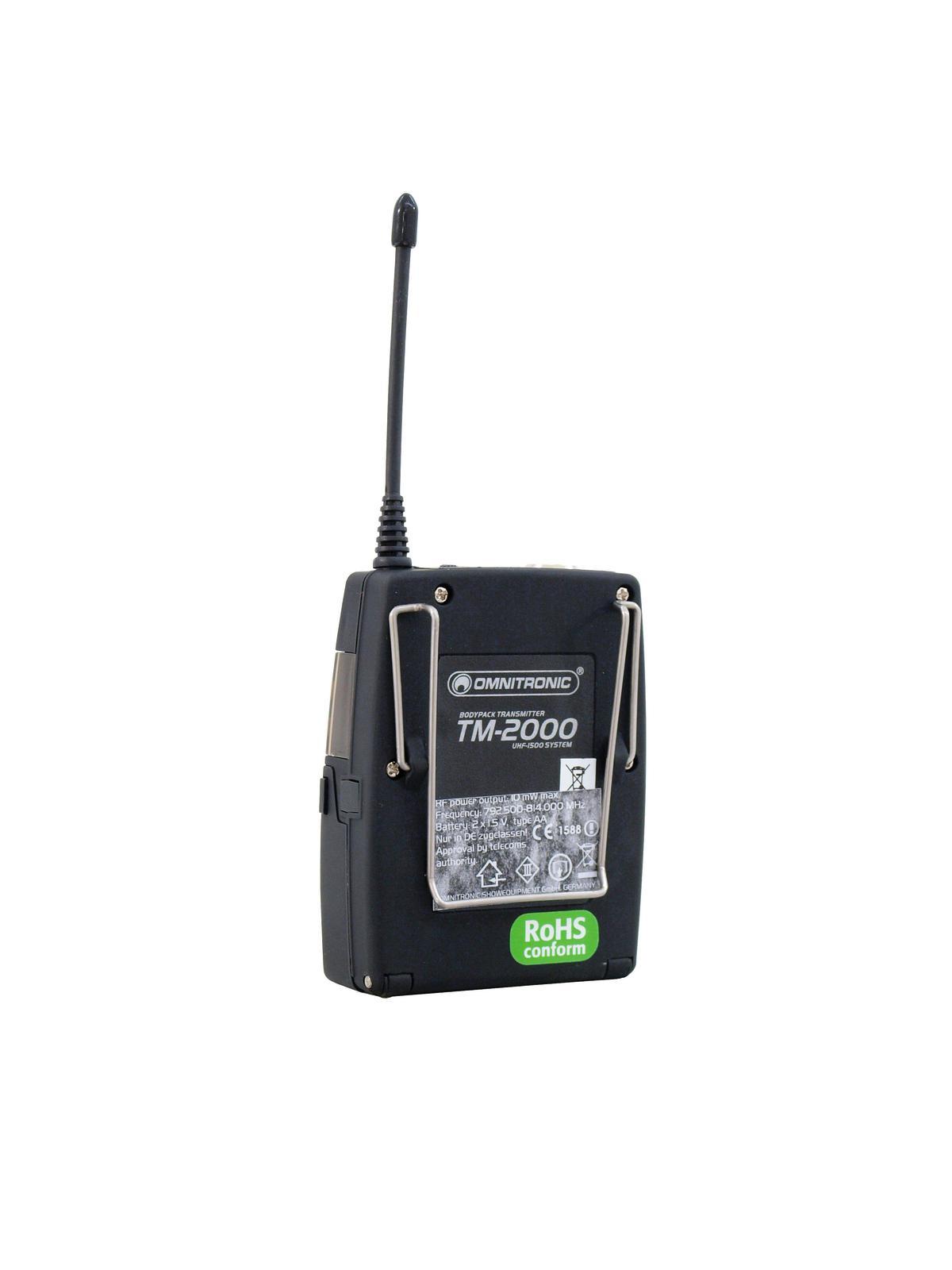 OMNITRONIC TM-2000 trasmettitore Tascabile Copertura 200 m