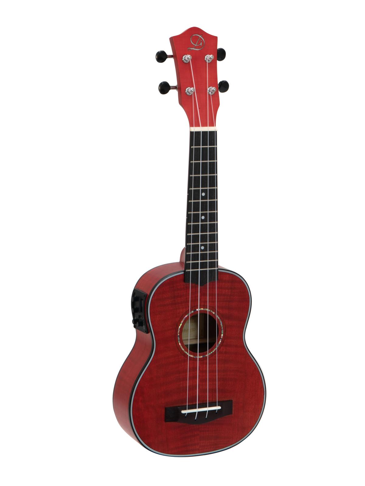 DIMAVERY UK-100 Soprano ukulele, fiammato rosso