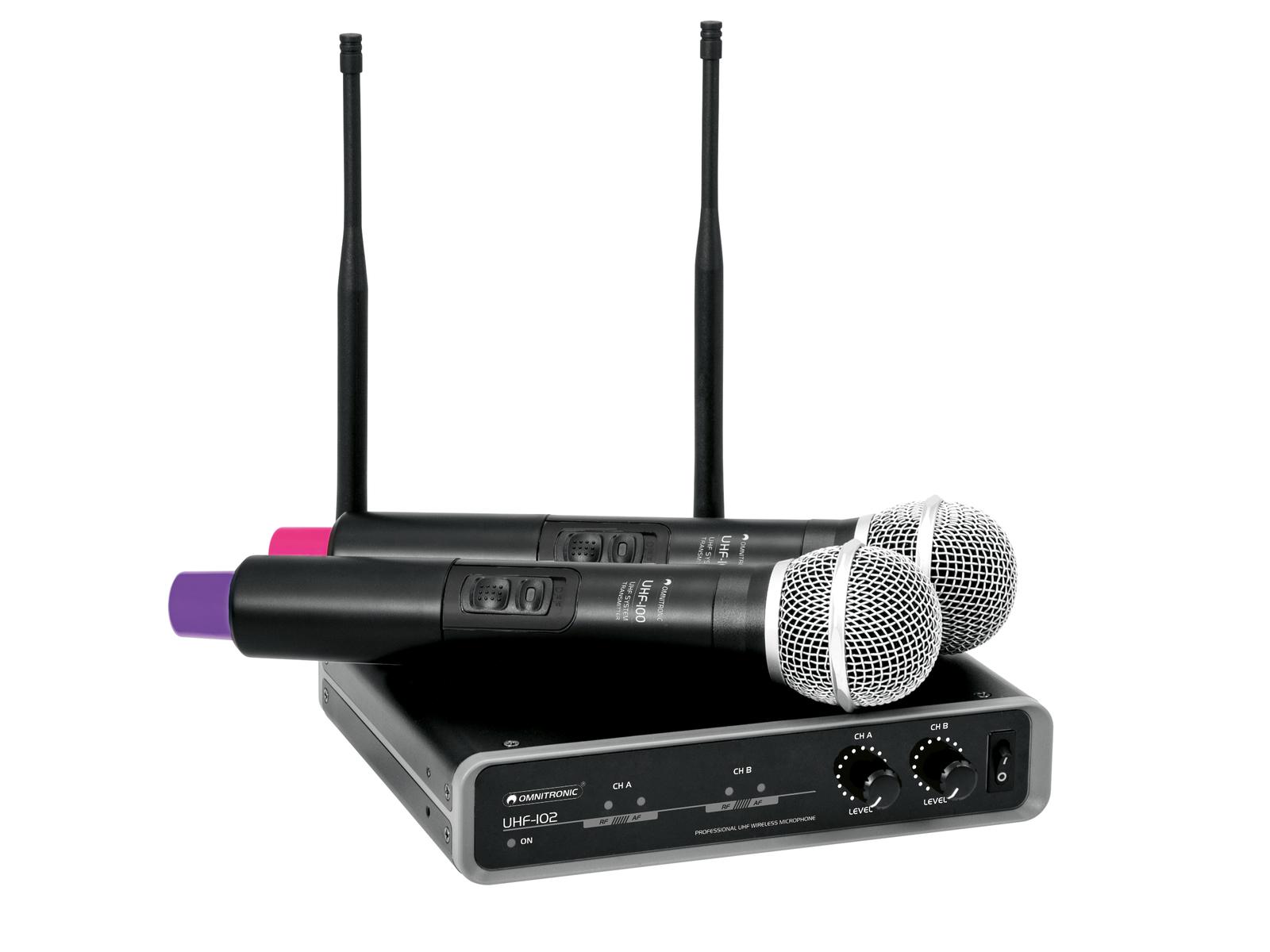 Doppio RadioMicrofono senza fili Wireless OMNITRONIC UHF-102 823.5/863.1MHz
