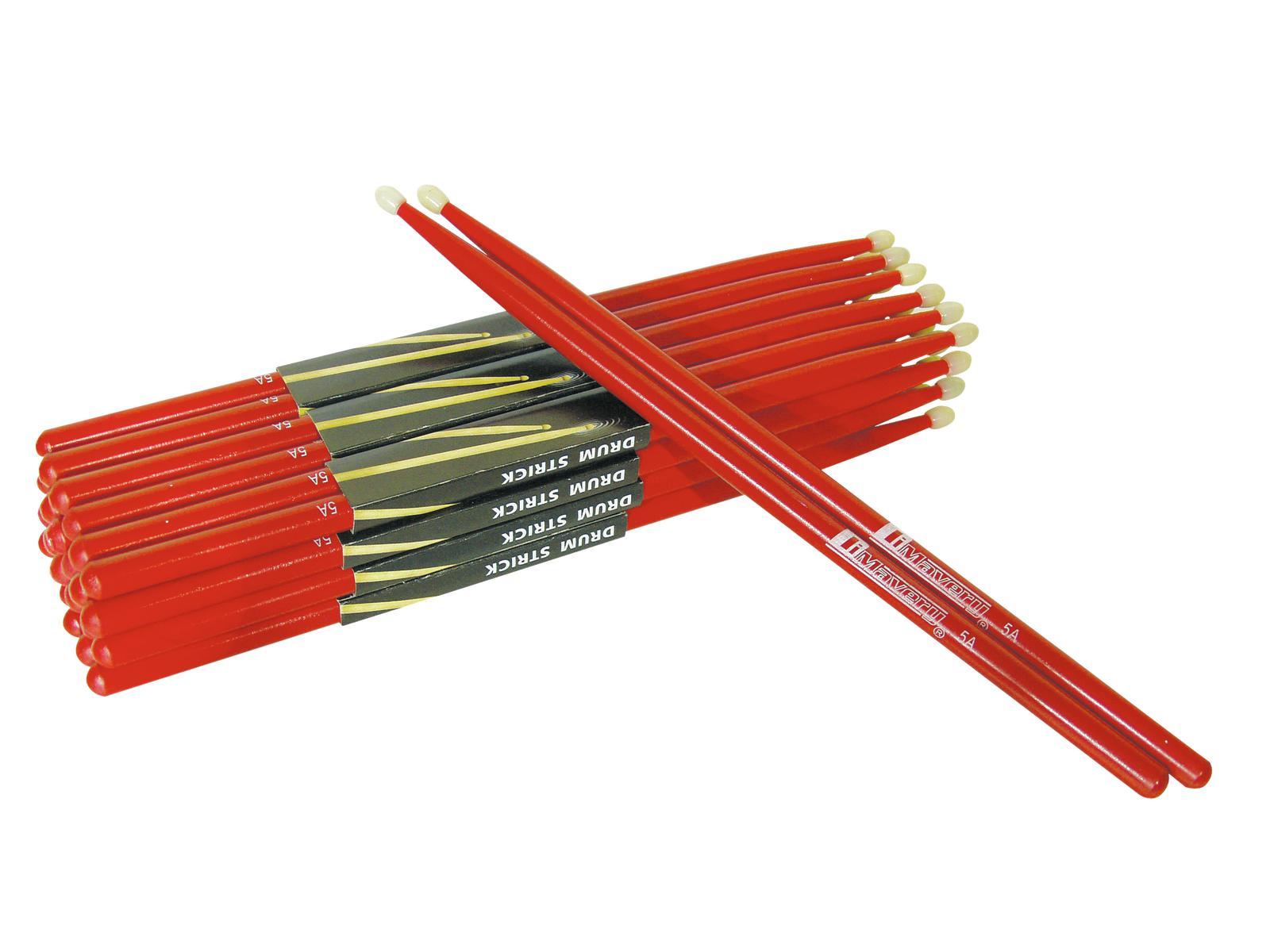 Coppia di bacchette per batteria in Acero 5A Rosse Dimavery DDS-5A
