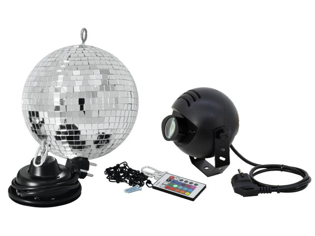 mpn50101857-eurolite-mirror-ball-set-20cm-with-led-rgb-spot-rc-MainBild