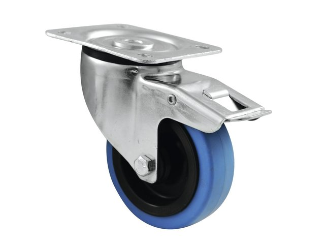 mpn30004007-roadinger-swivel-castor-100mm-blue-wheel-with-brake-MainBild